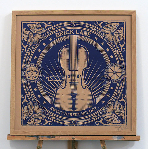 Coal Hole Cover . VIOLIN .  blue . Screen Print . 50x50cm