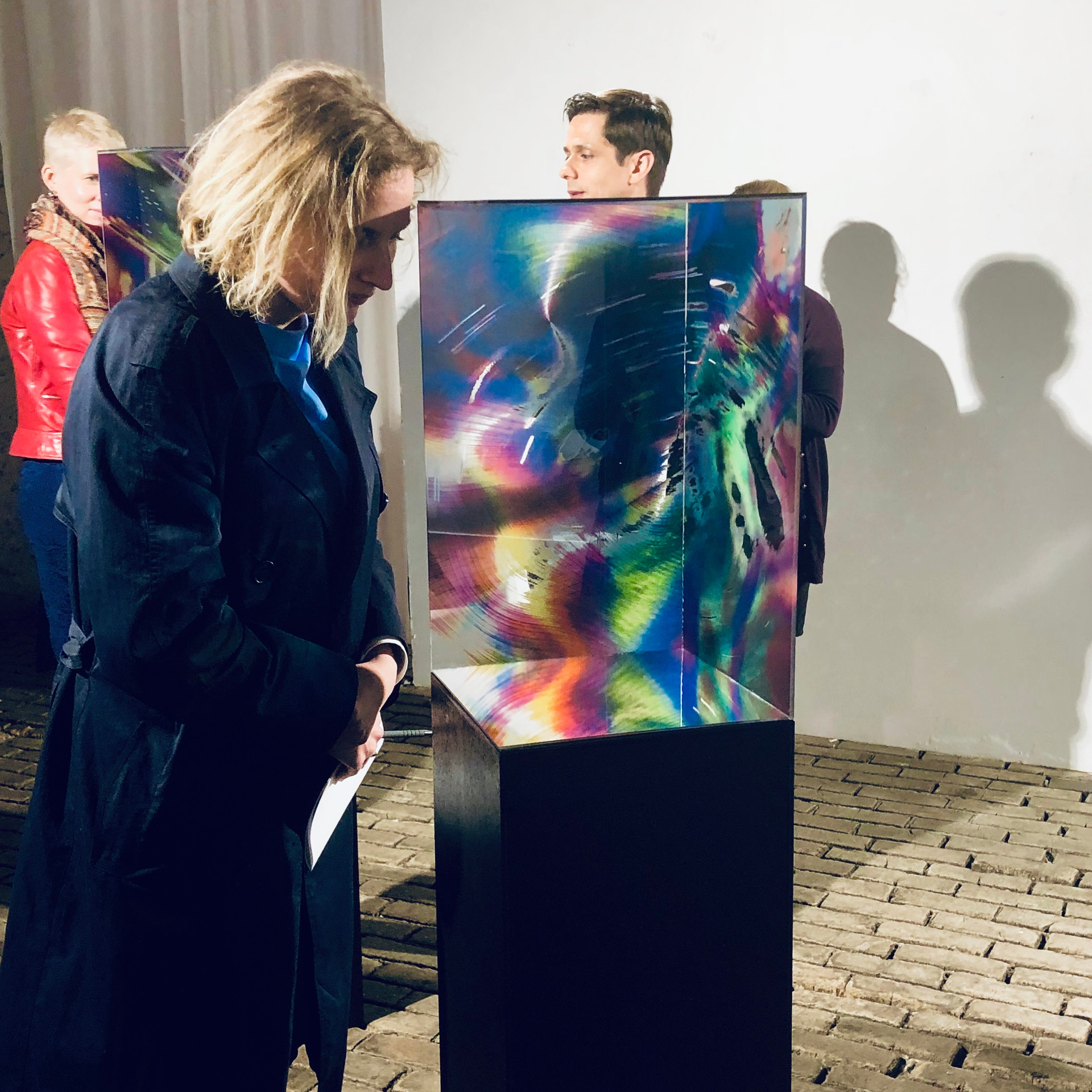 """Audience interacting with """" W i T H i N """" installation"""