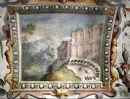 affresco topolini in assemblea di Esopo nella Rocca dei Rossi di San Secondo