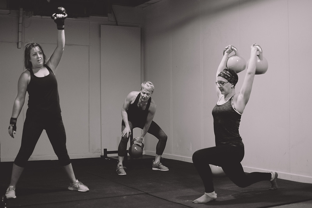 small business marketing. three women during a fitness class