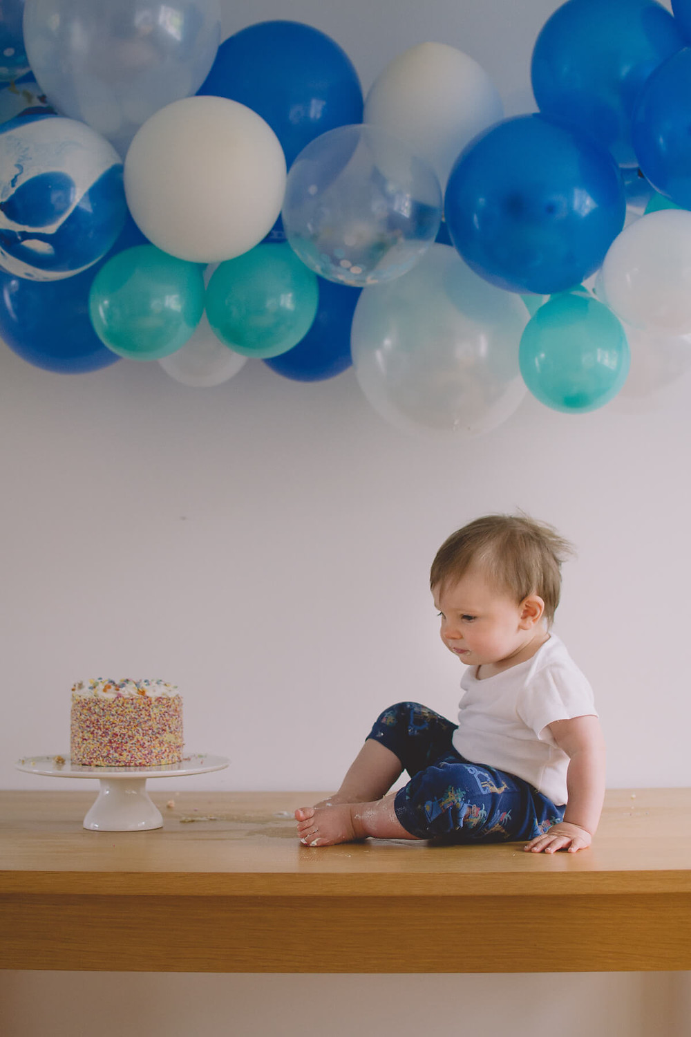 first birthday cake smash photoshoot at home
