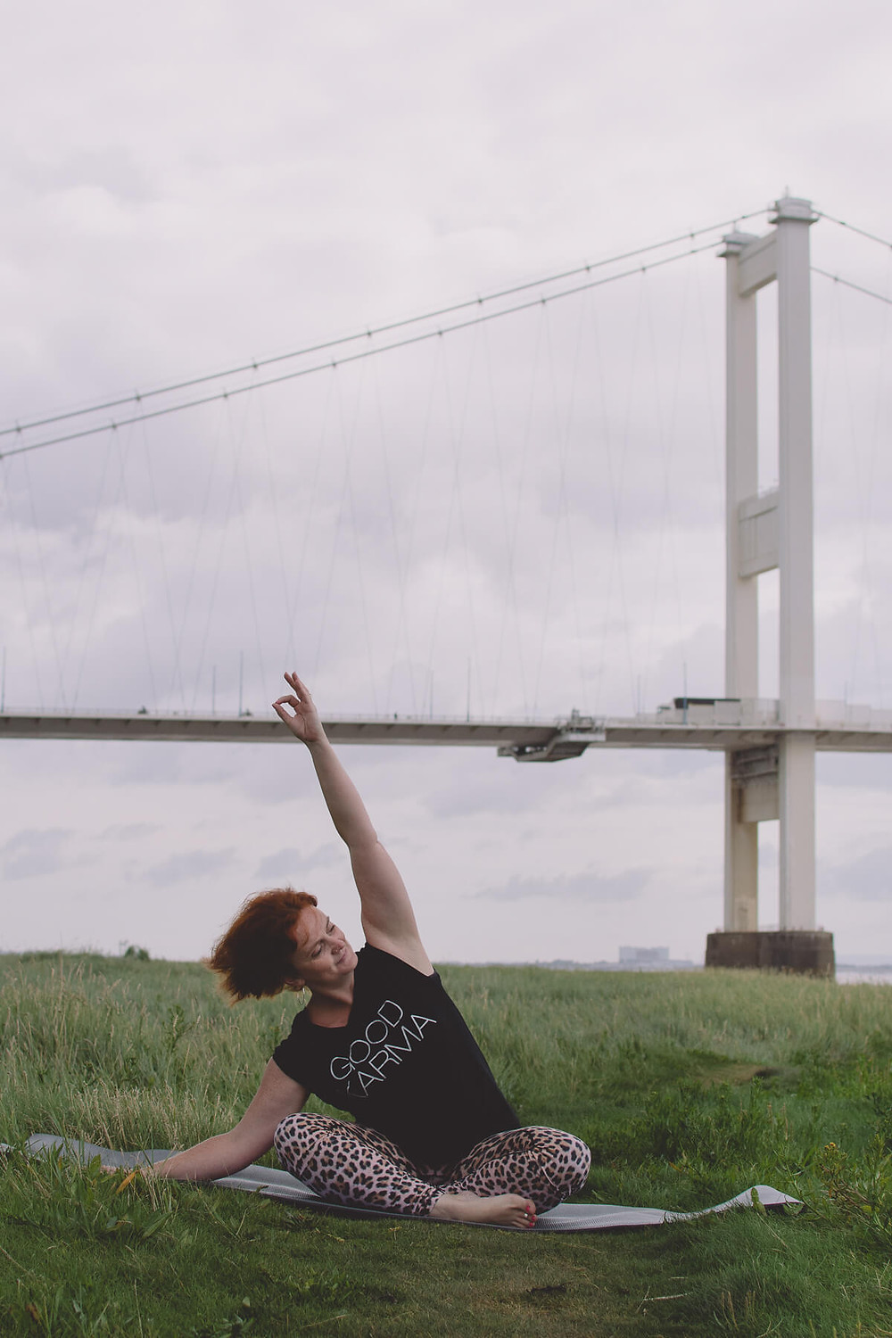 yoga under bridge south wales chepstow