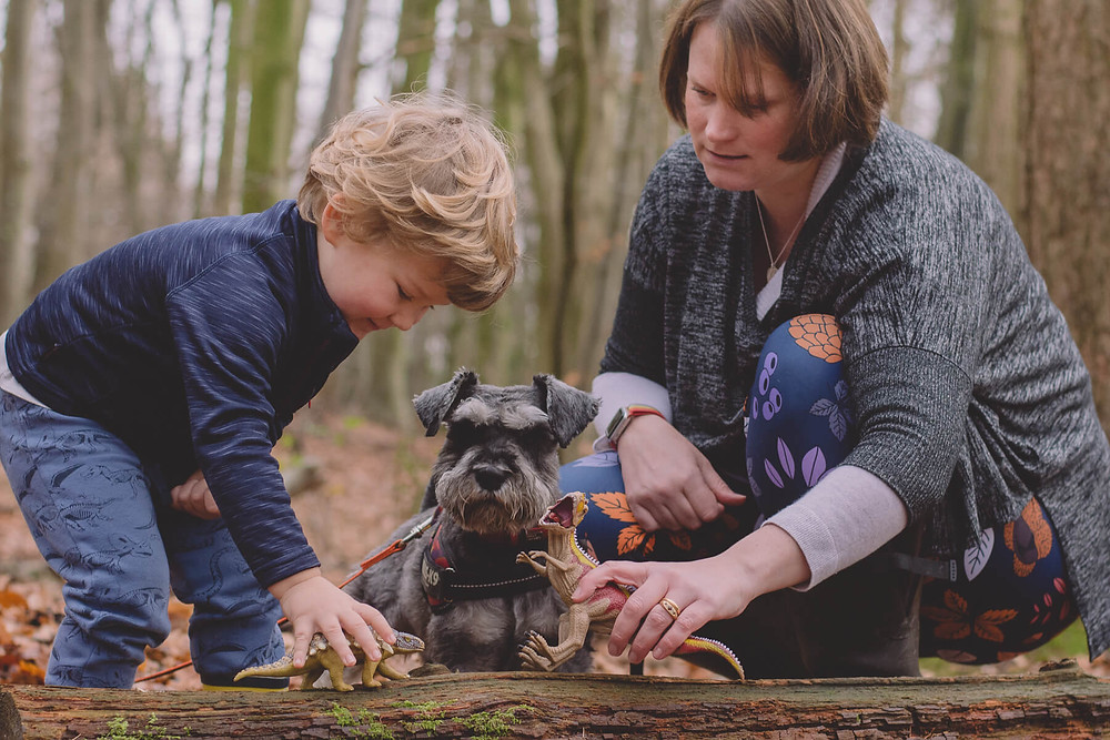 boy plays with toys with mu min forest lifestyle family photography