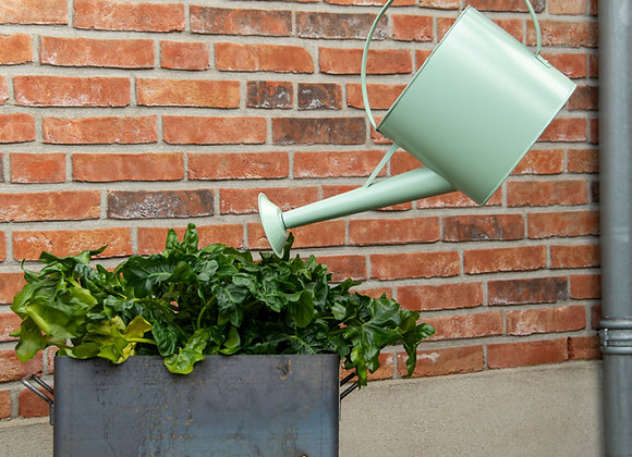 Green outdoor watering can