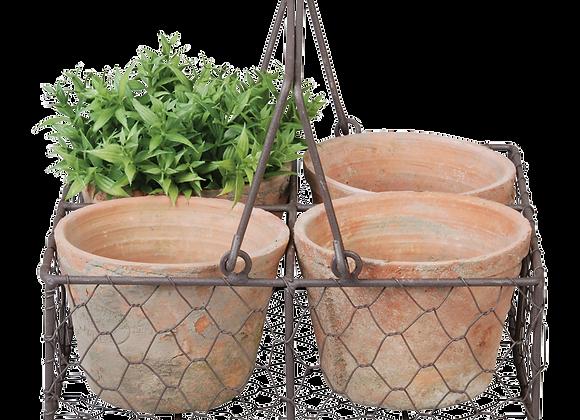 4 Handmade terra cotta pots in wire basket/handle