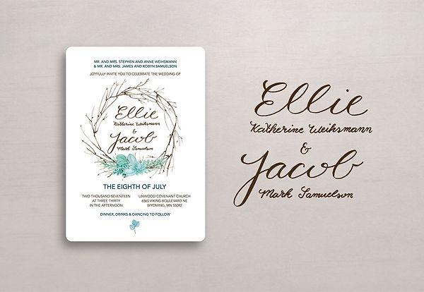 Wedding invitation hand lettering