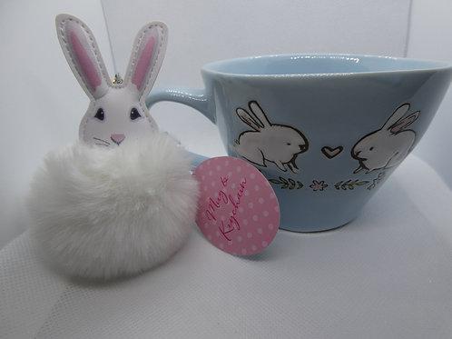 Bunny Mug and Keychain with 2 Sugar cookies