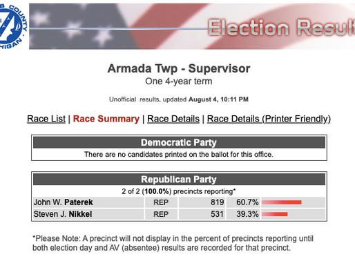 Paterek To Remain Supervisor In Armada Twp
