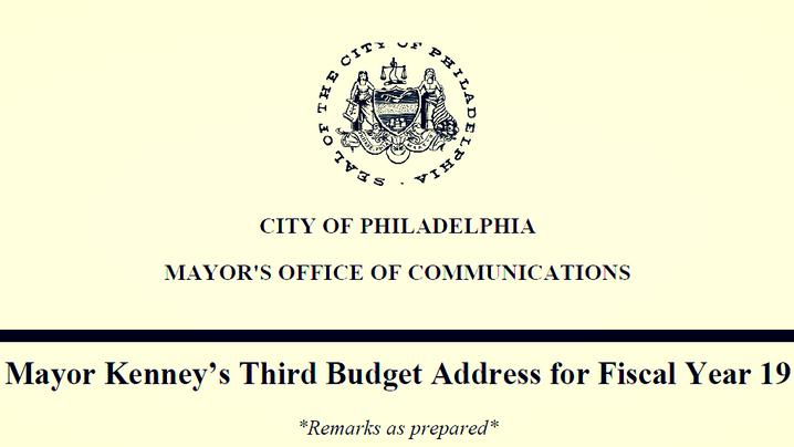 Mayor Kenney: 2018 Budget Address