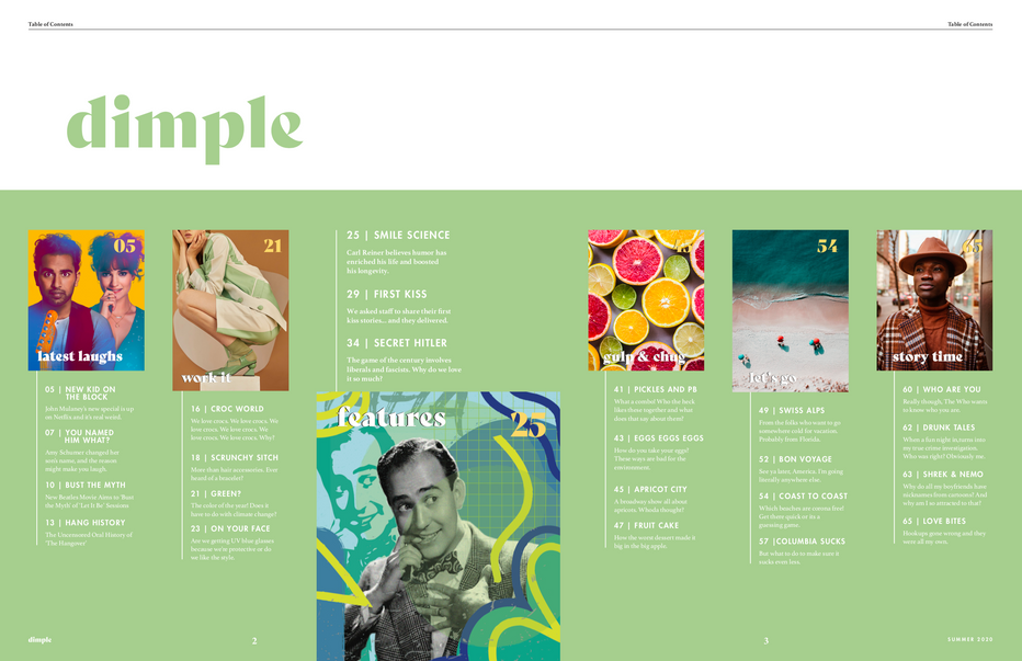 Dimple Magazine: Table of Contents
