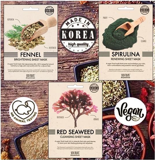 Korean Superfood 3pk Masks : Fennel, Spirulina & Red Seaweed