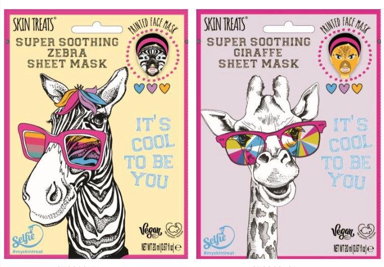 4pk Printed Sheet Face Masks - Zebra and Giraffe