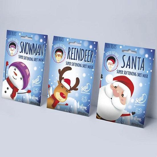 3pk Christmas Printed Sheet Masks