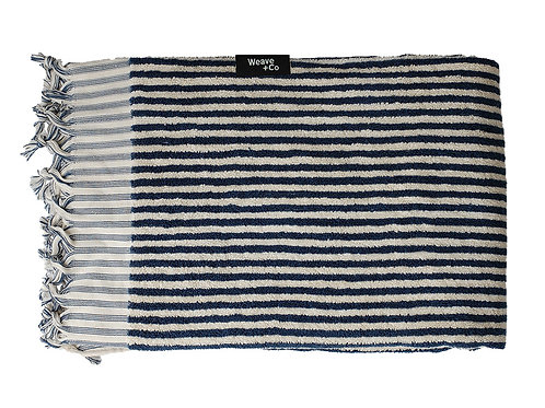 Indigo Stripy Thick Terry