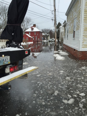 (Photo: Flooding in the Point section of Newport)