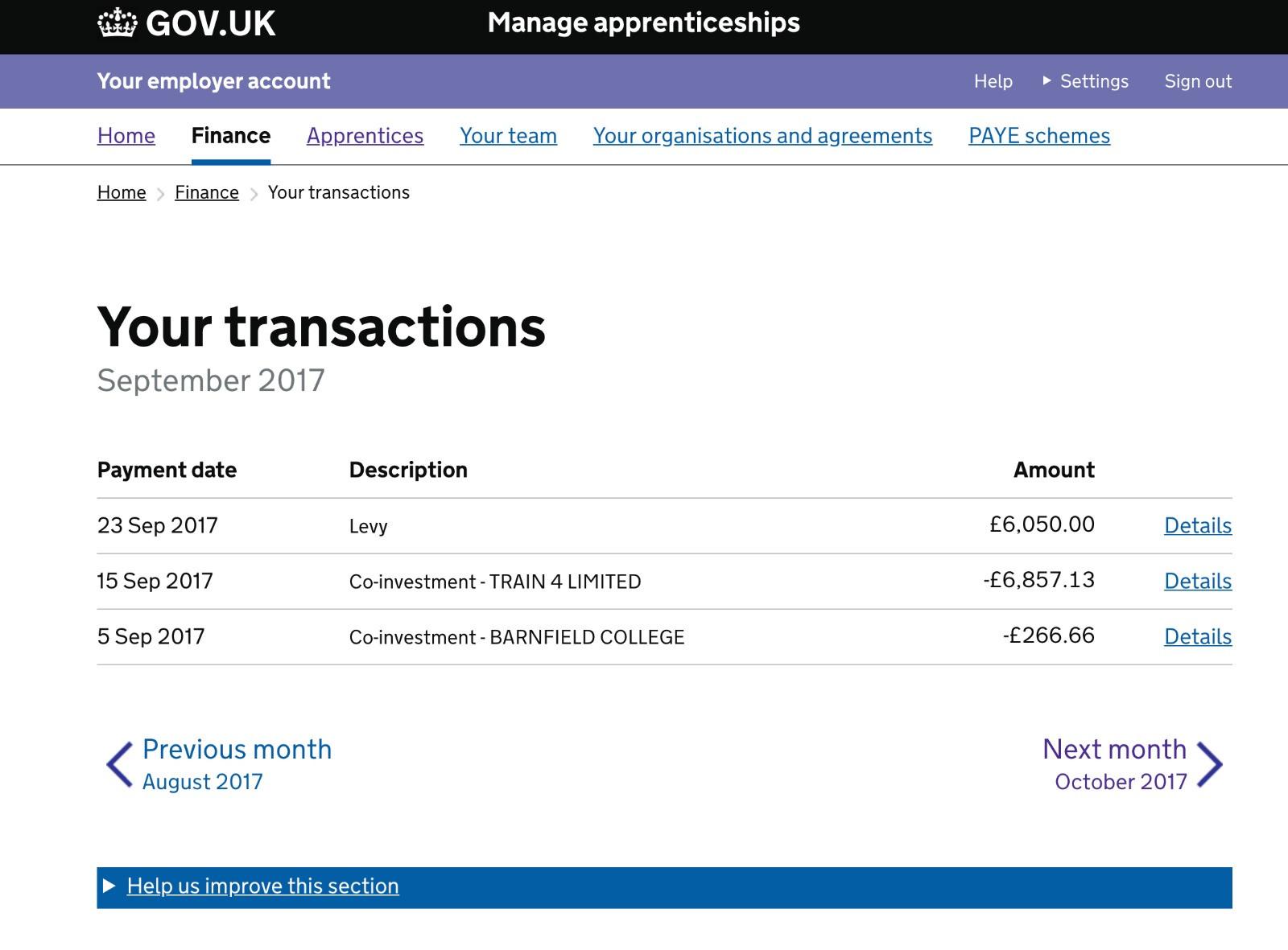 Manage Apprenticeship Service Transactio