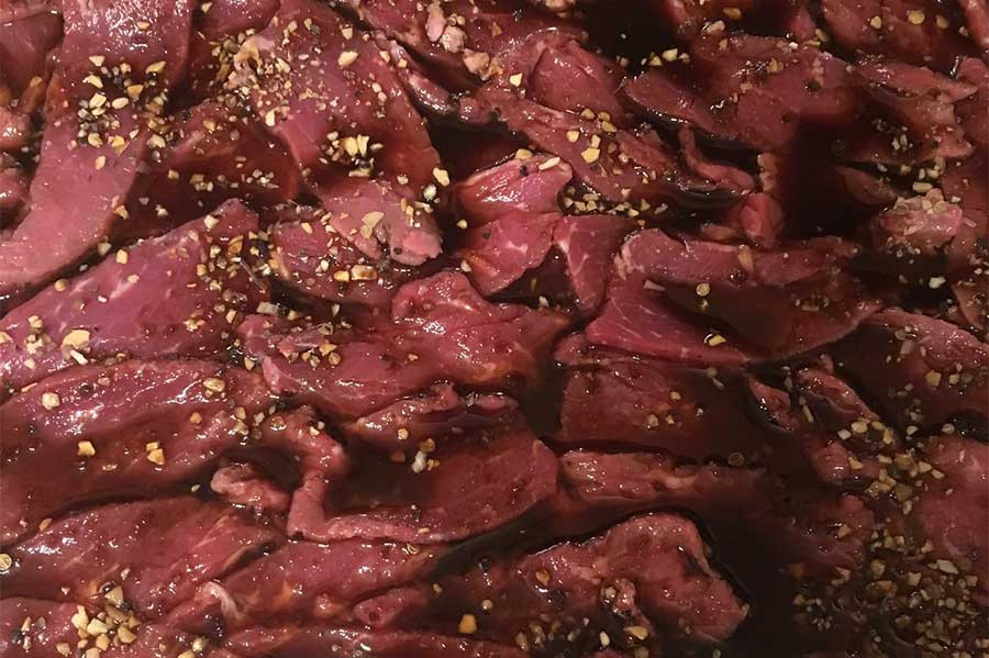 beef prepared for the drying process