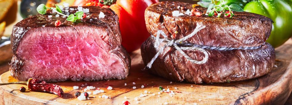 Tender lean medium rare beef fillet stea
