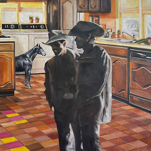 "Cowboys in the Kitchen, Original Oil, 24"" x 24"""