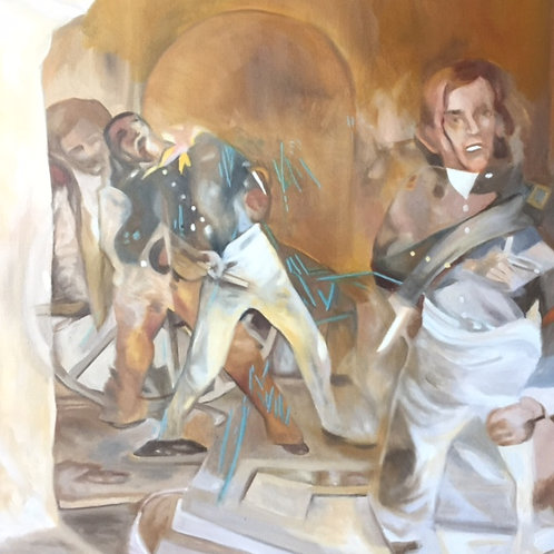 "Nonie and the Wax Museum: Nonie Remembers the Alamo"", Original 20"" x 20"""