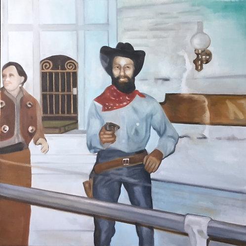"Nonie and the Wax Museum: Jesse James"", Original 20"" x 20"""
