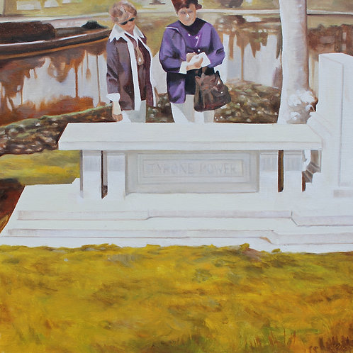 """""""At the Grave of Tyrone Power"""", Original 20"""" x 20"""""""