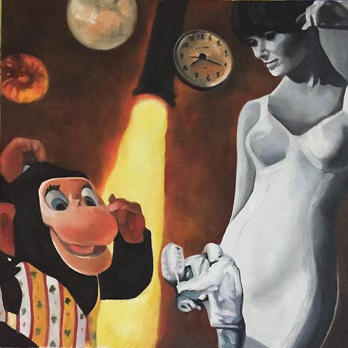 """""""Space Chimp"""" Original 12"""" x 12"""""""
