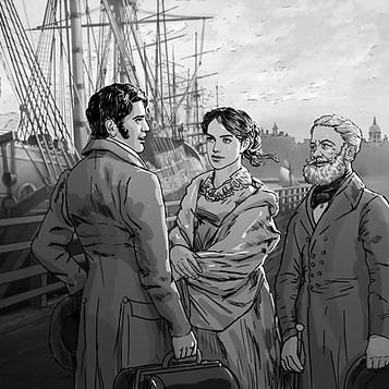Return to Robinson Island illustration Elizabeth Cole and Sir Montrose