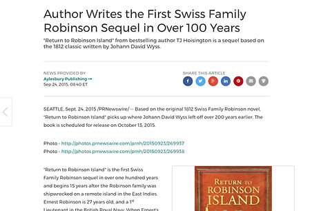 Swiss Family Robinson sequel press release