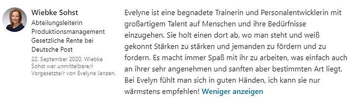 Empfehlung von Wiebke Sohst für WertPlus Evelyne Janzen über linkedin