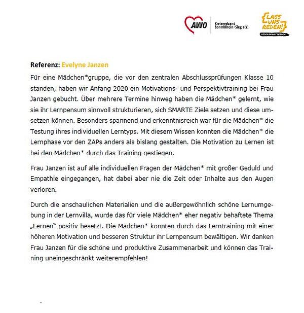 Empfehlung der AWO für Evelyne Janzen