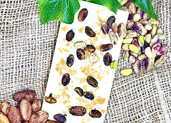 Tablette chocolat blanc Pistaches & Feuilleté
