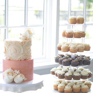 Tiered Cake and Cupcakes
