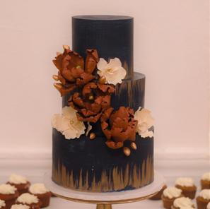 Navy and Burgundy Cake