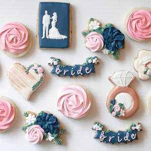Navy and Blush Bridal Cookies