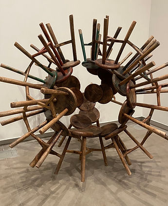 Ai Weiwei Stool Sculpture as Brain.JPG