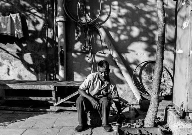 mending bicycle wheels.