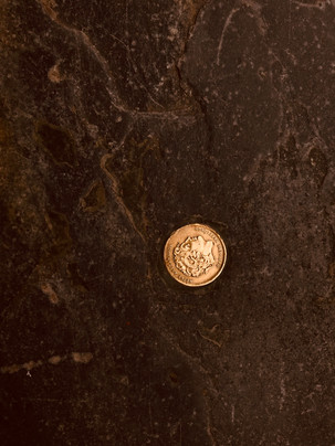 golden coin in a pavement.