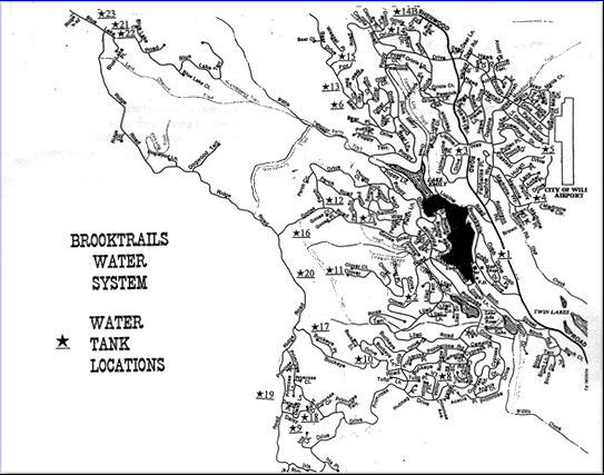 Map of Brooktrails Water System & Water Tank Locations
