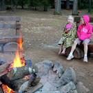 Enjoying the Redwood Fire Pit