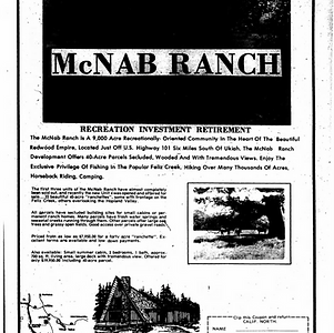 Ukiah Daily Journal (Ukiah, California) · 25 May 1971, McNab Ranch Development Flyer