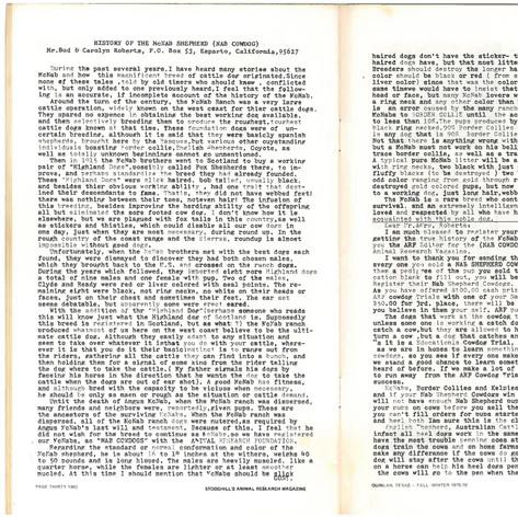 History of the McNab Shepherd