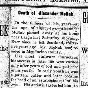 UDD DETAILED OBITUARY OF ALEXANDER MCNAB LOTS OF HISTORY