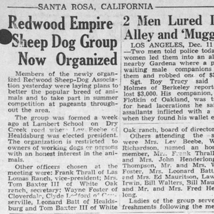 PD Announcement of Redwood Empire Sheep Dog Association