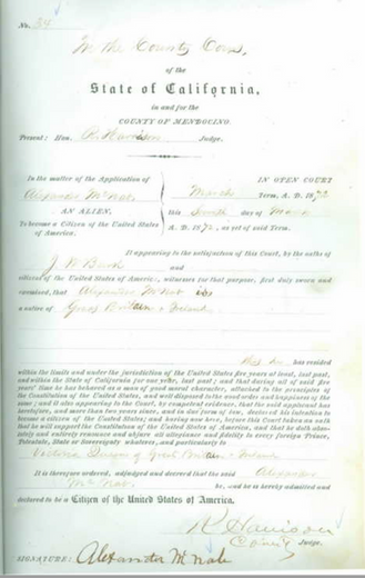 Alexander McNab Naturalization 1872