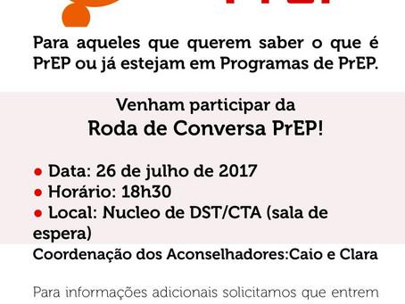 DST/CTA promove palestra sobre prEP todas as sextas-feiras às 18:30.  O local tbem oferece tratament