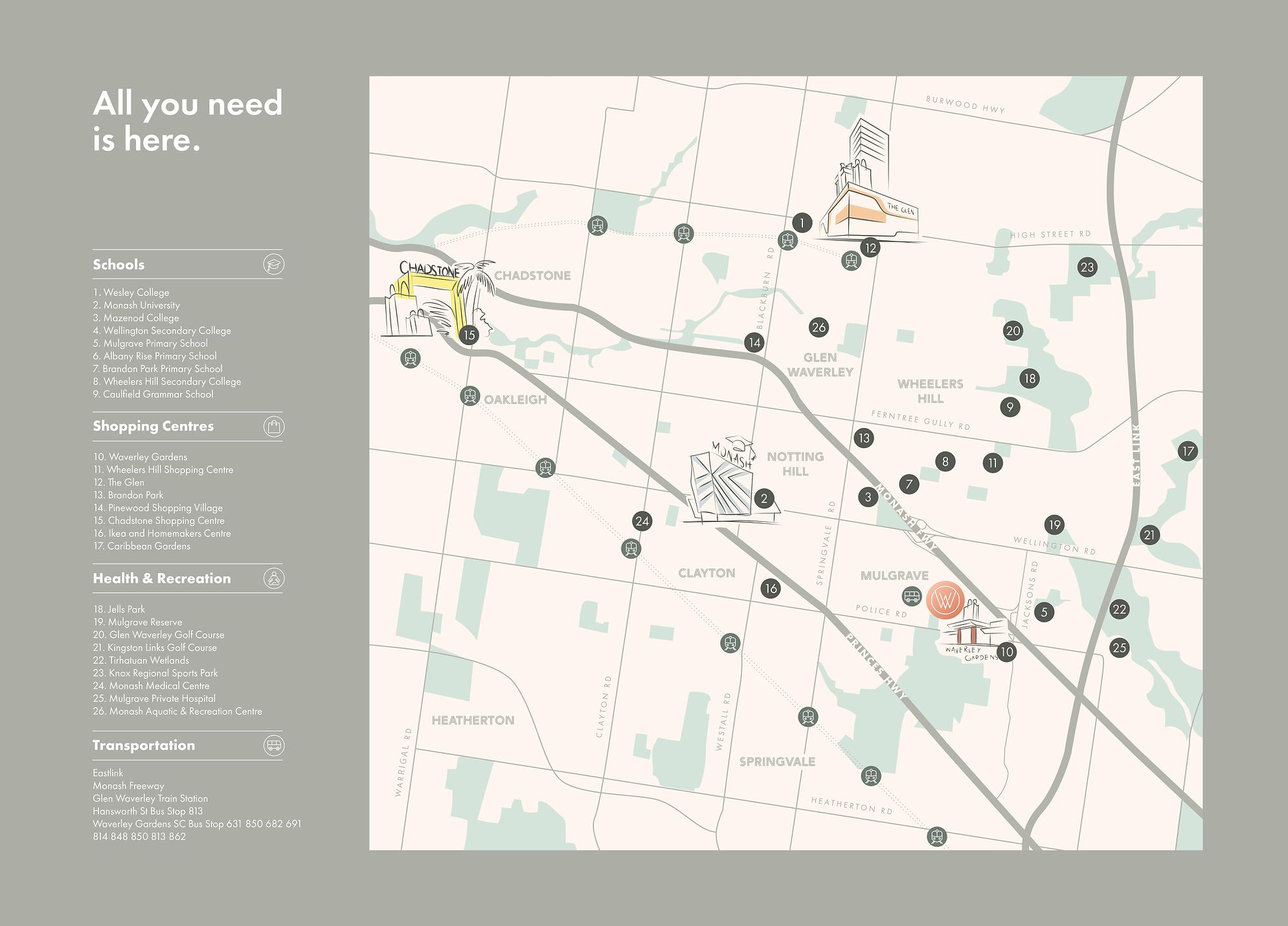 Waverley Village Location Map