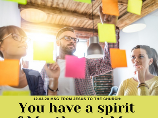 12.03.20 MSG FROM JESUS TO THE CHURCH: You have a spirit of Martha not Mary.