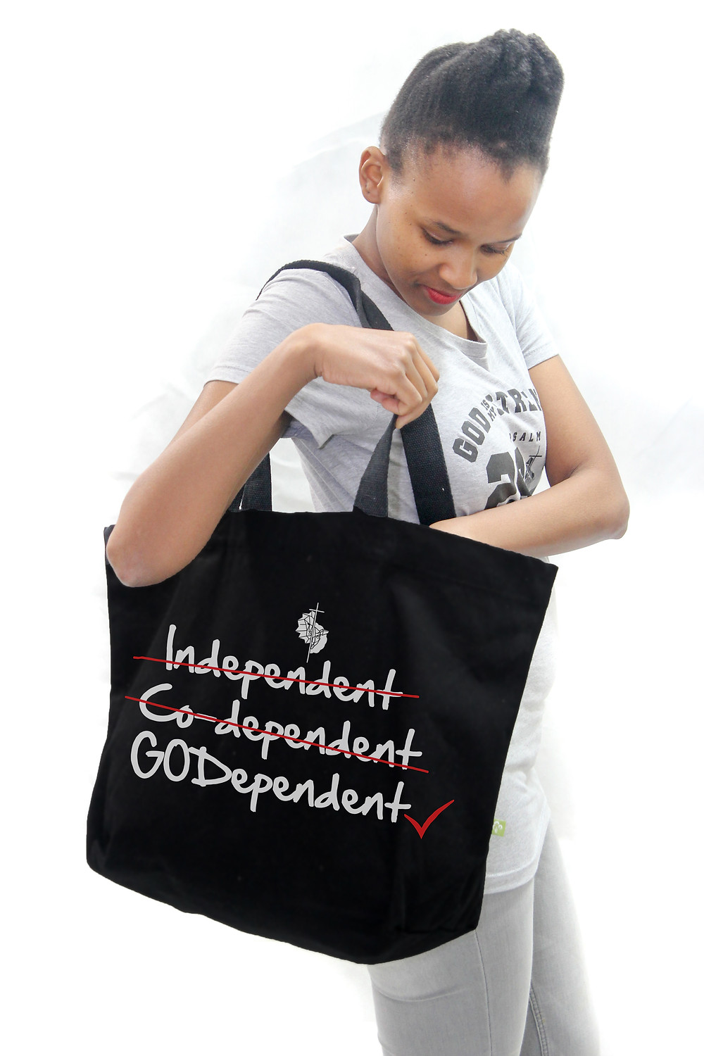 black christian tote bag