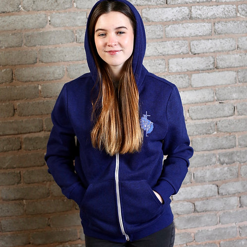 royal blue womens christian zip hoodie with crucifix embroidery